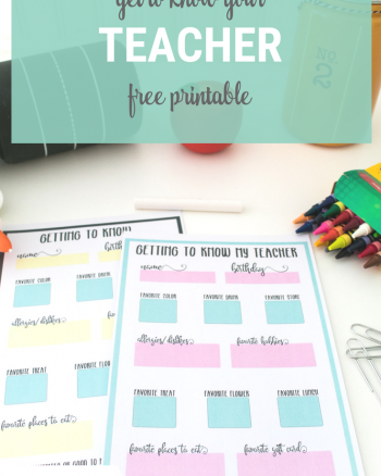Get to Know Your Teacher Free Printable Questionaire