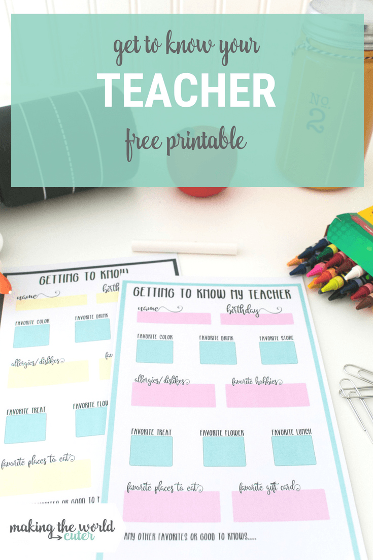 Get to Know My Teacher Printable Questionnaire