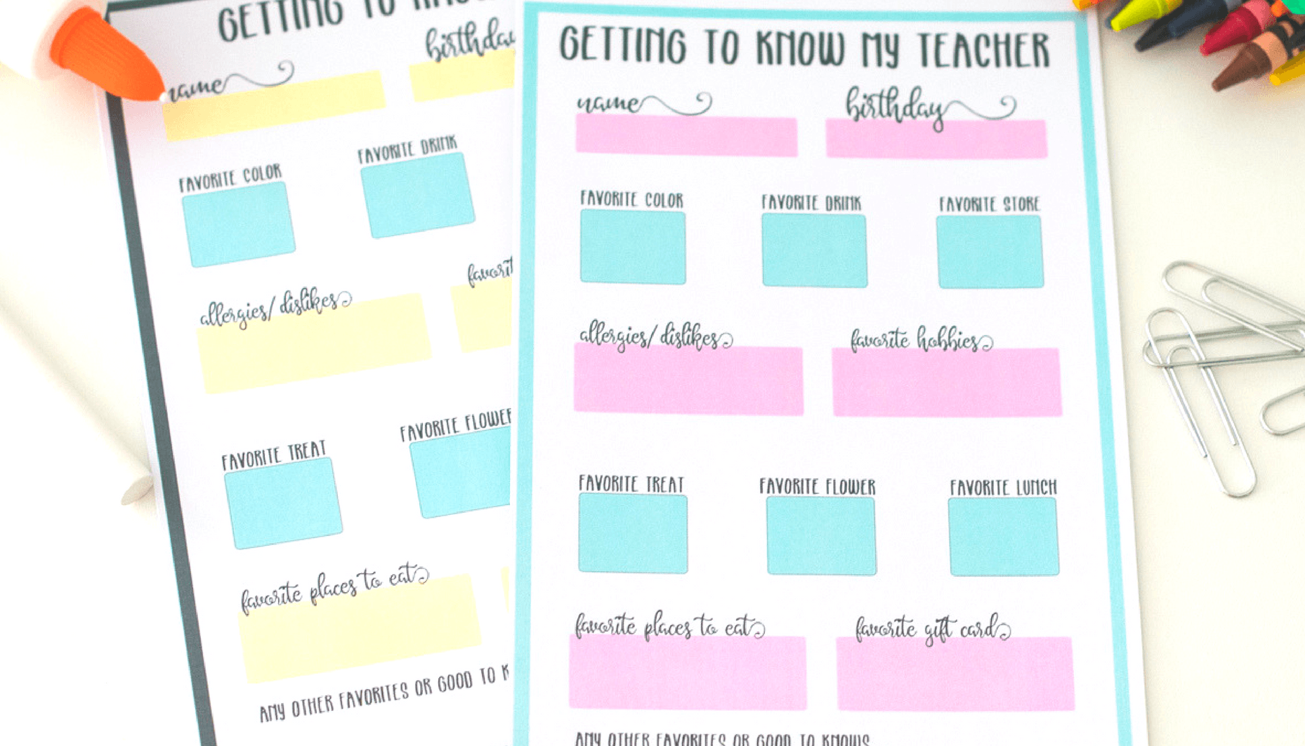 Get to know my teacher free printable questionnaire