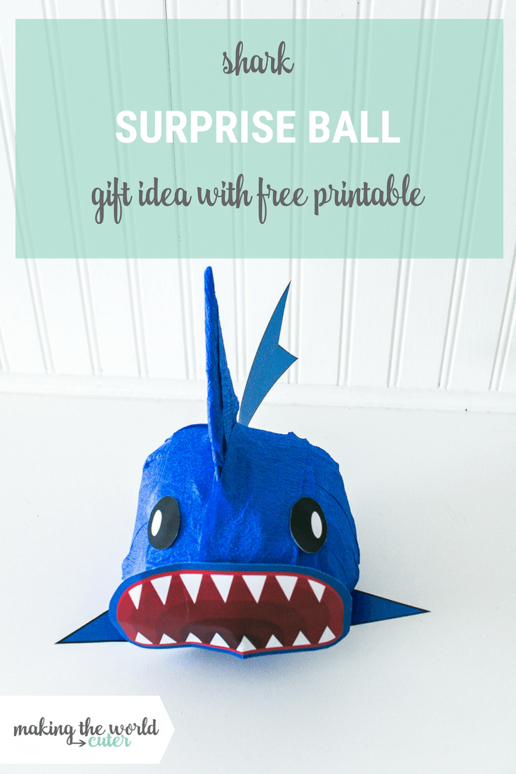 Shark Surprise Ball Gift Idea with a Free Printable, Perfect for Shark Week or a fun birthday gift. For less than $10!