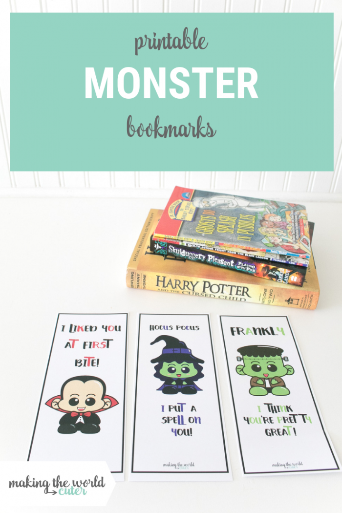 Halloween Printable Bookmarks with a vampire, witch and Frankenstein's monster, give with a book for a fun gift idea!