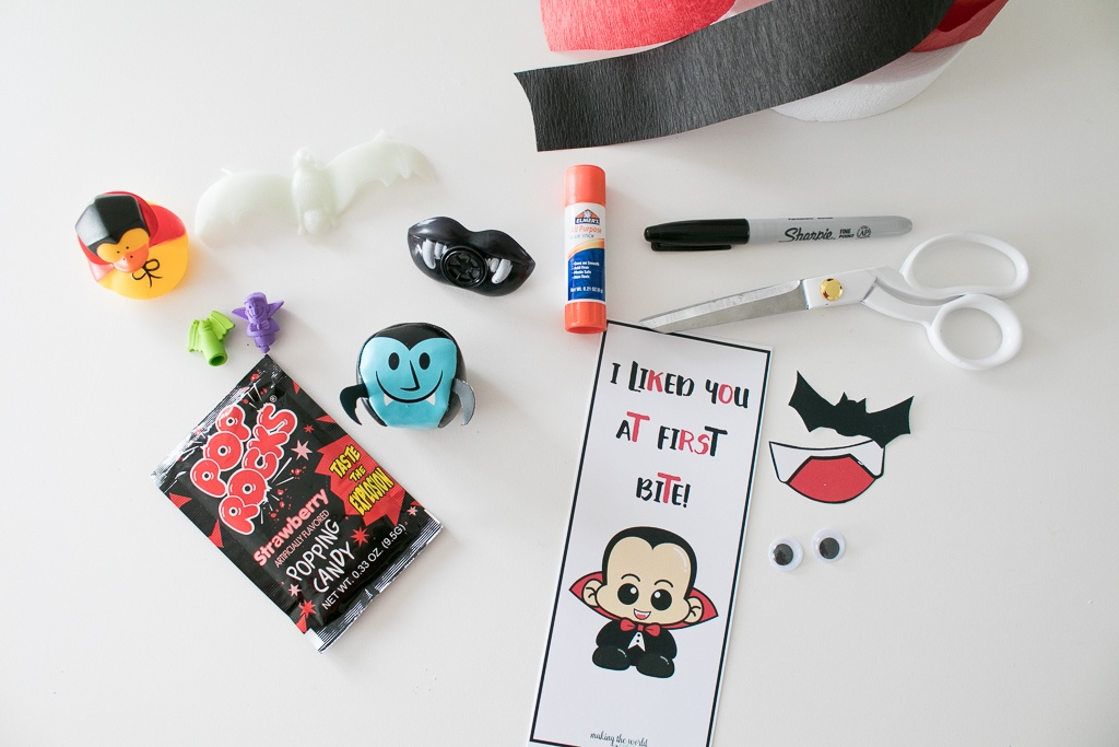 Supplies for Vampire Surprise Ball with cute Dracula printable
