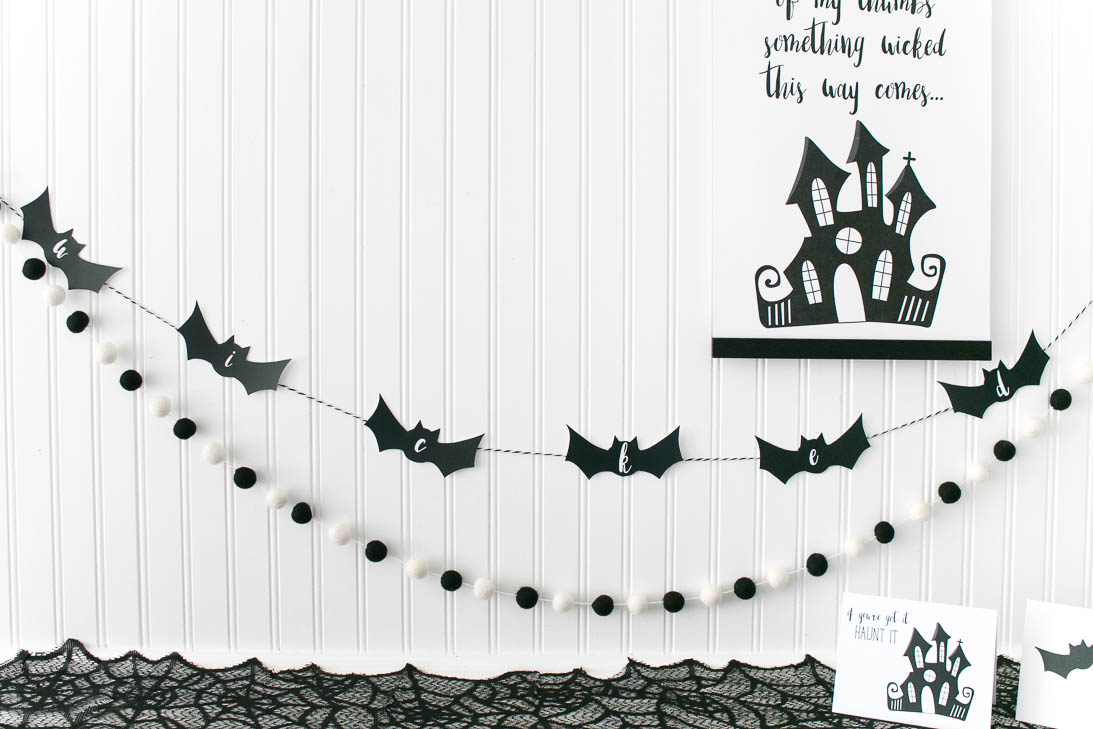 Wicked Bat Garland with black and white pom pom banner
