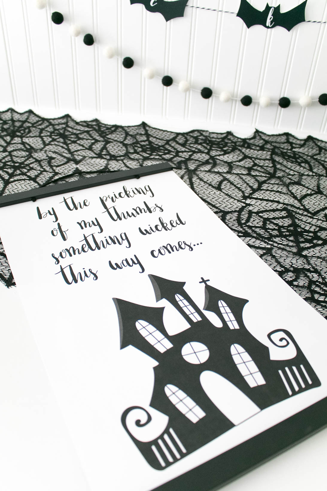 By the pricking of my thumbs something wicked this way comes printable poster. October Wicked Cute Halloween Printable Pack