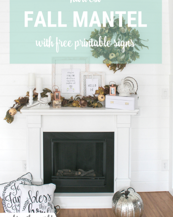 Fall Harvest Mantel with Free Printable Fall Signs
