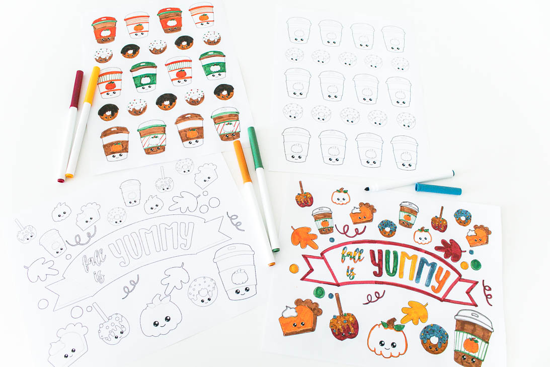Fall food coloring sheets part of the thankful printable pack at Making the World Cuter
