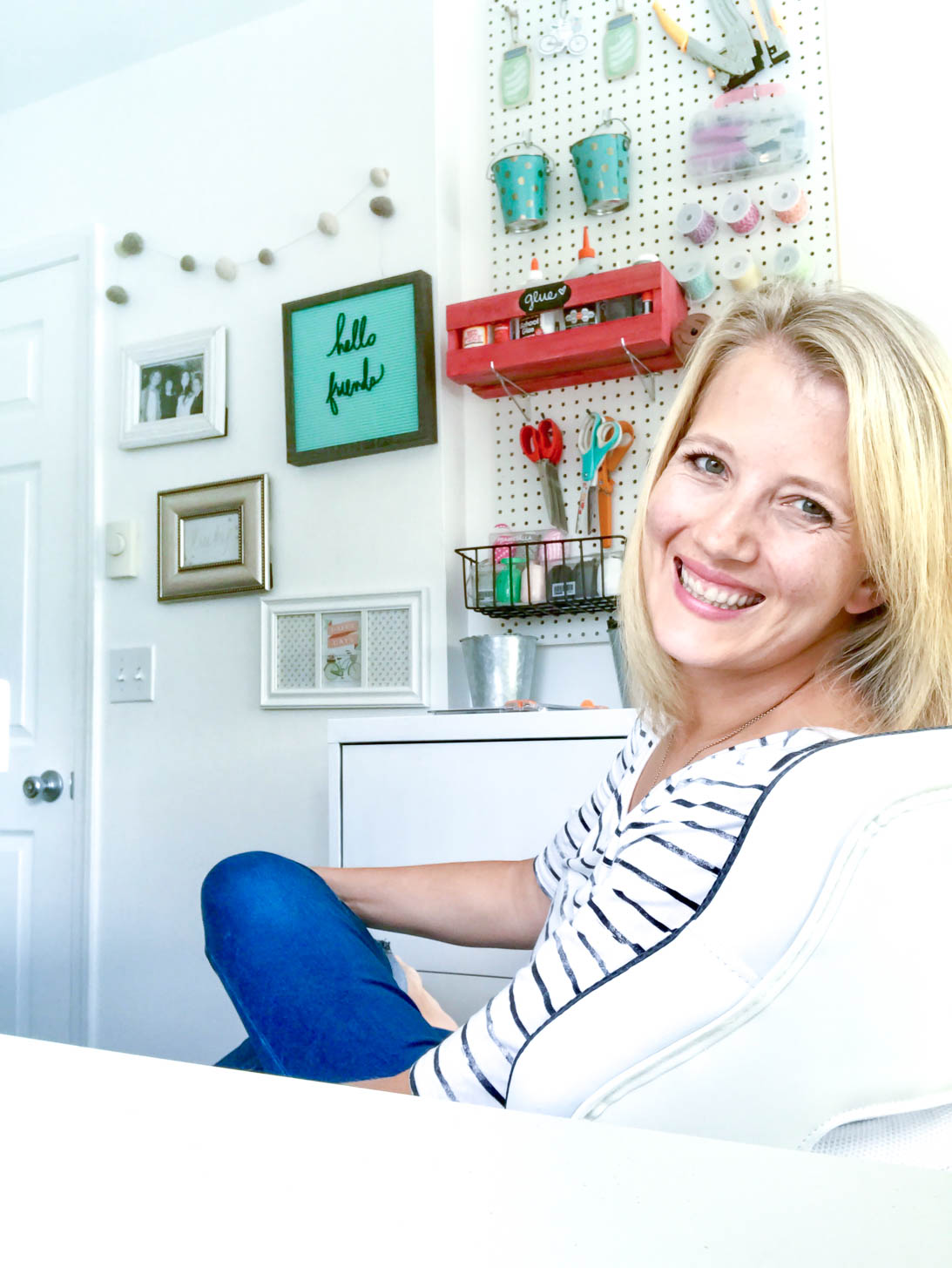 Tiffany Hewlett Making the World Cuter in her Organized White Craft Room