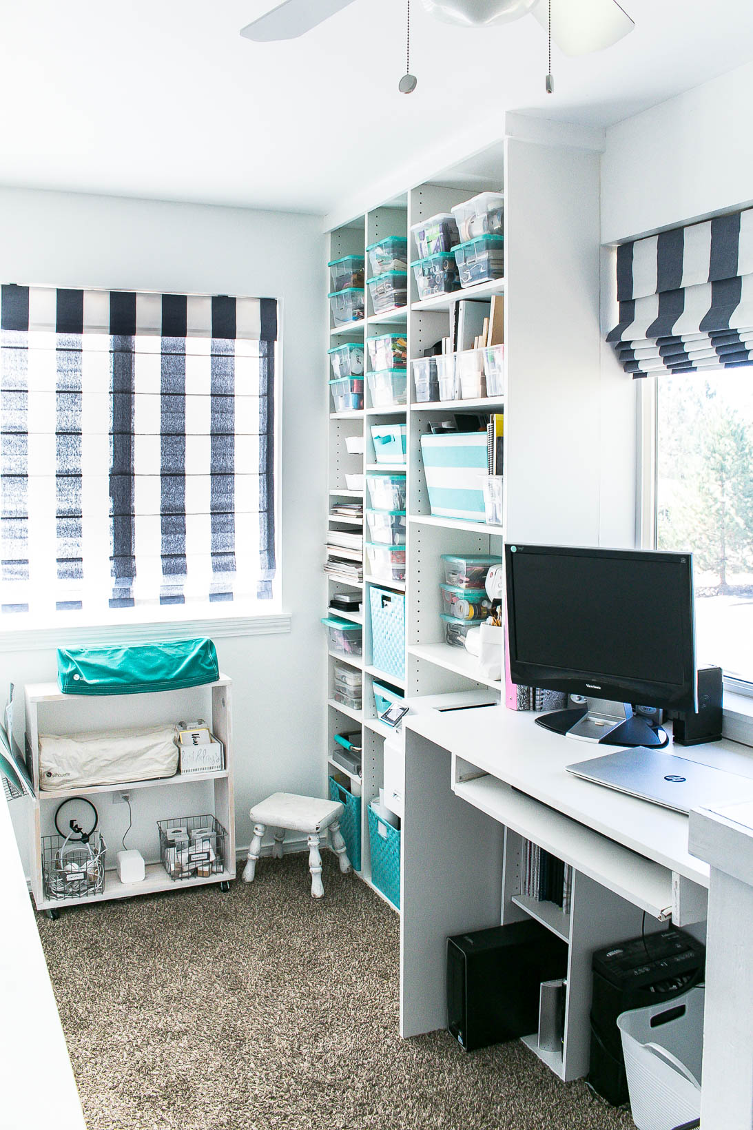 Organized white craft room