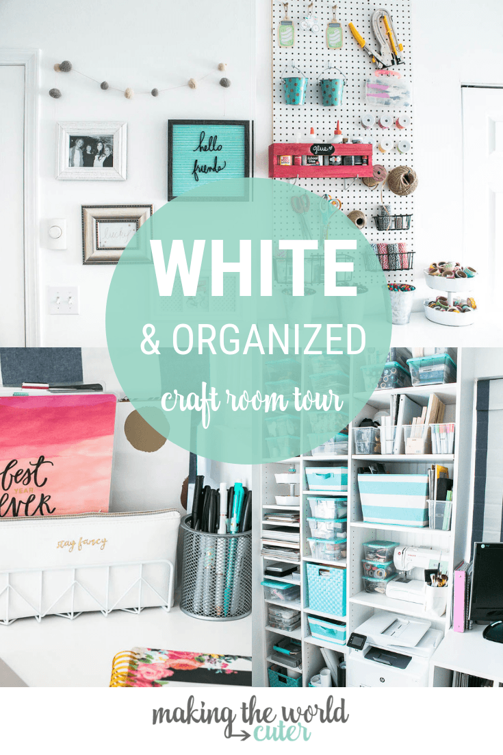 White and Organized white craft room