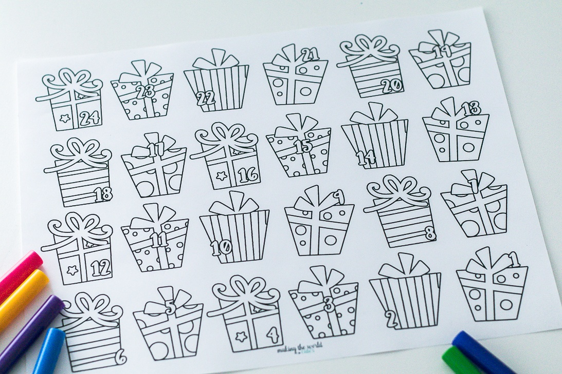 Coloring Page Advent Calendar with Gifts