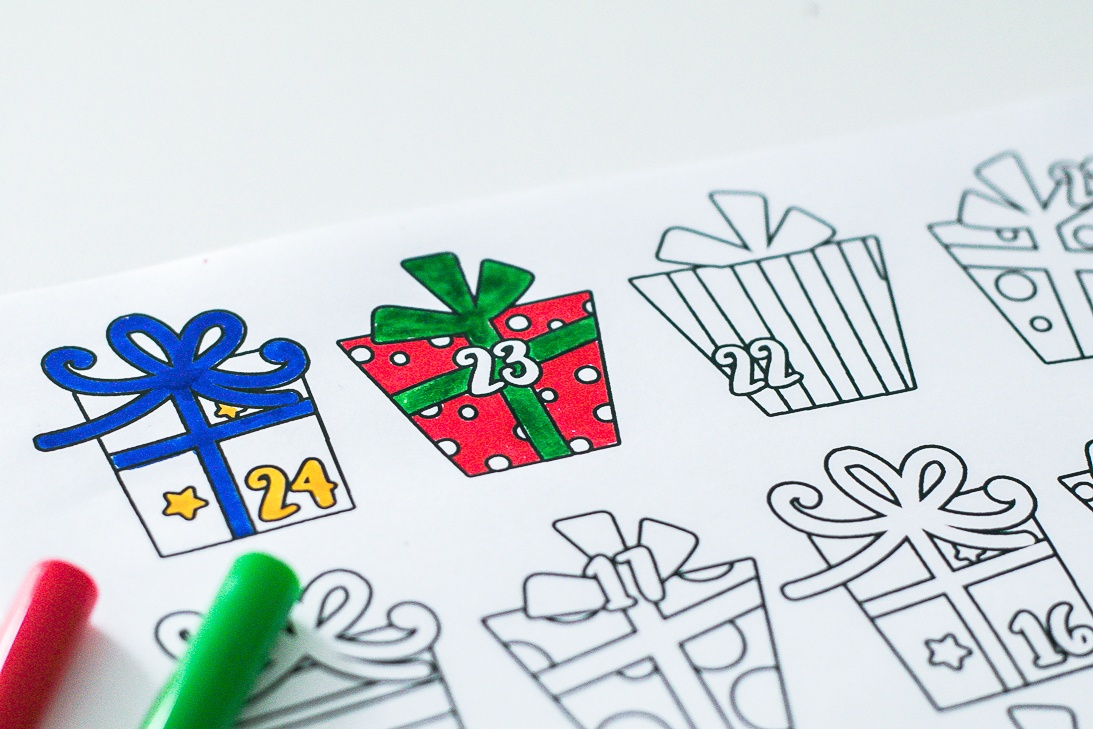 Color in Advent Calendar Printable
