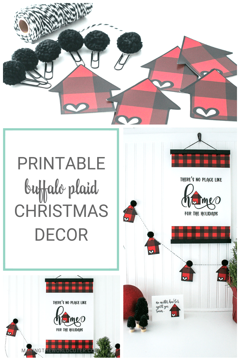 "Buffalo Plaid Christmas Decor Printable Poster and House Banner, letting everyone know-""There's no place like home for the holidays!"""