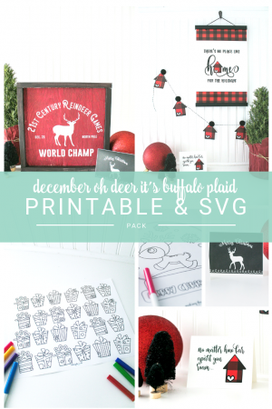 December Christmas Printable Pack, coloring sheets, advent calendar, greeting cards, banner and posters...including an SVG file.