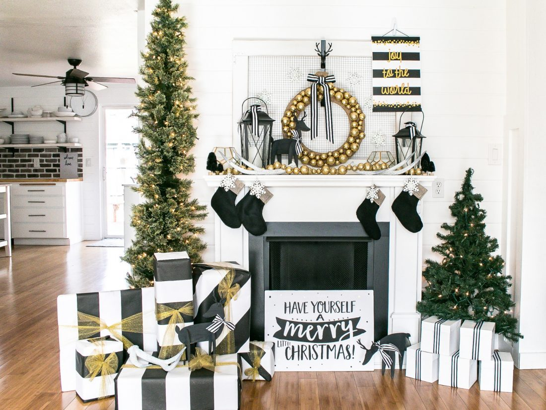 Black and Gold Mantel Decor for Christmas