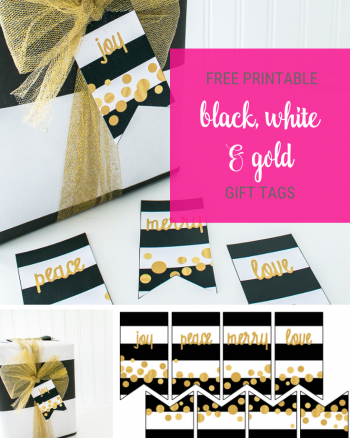 Christmas Black white and gold gift tags printable