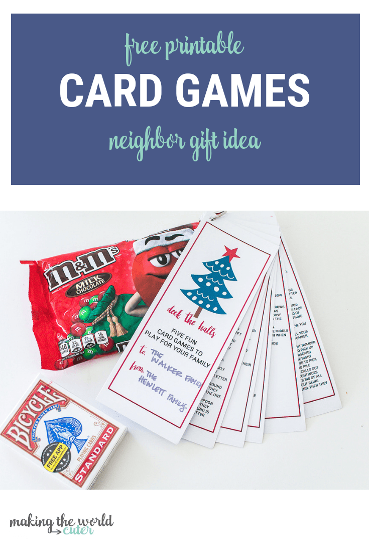 Best Neighbor Gift Playing Cards and Free Printable Card Games Instructions