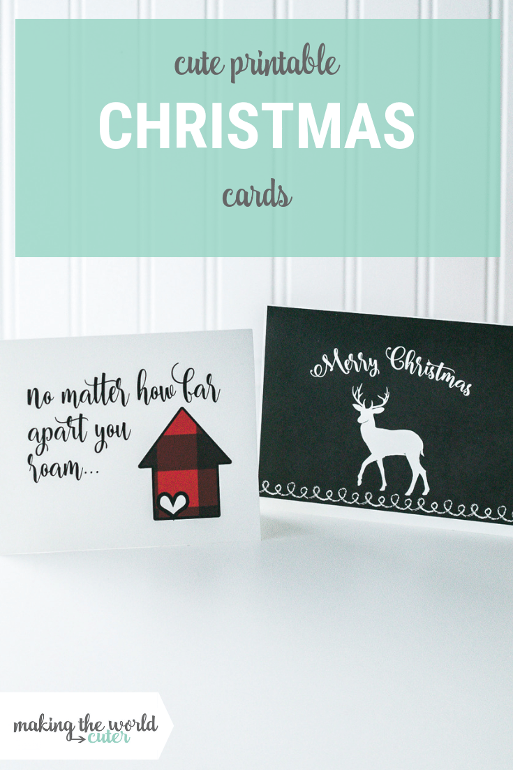 Buffalo Plaid Christmas Card and Black Reindeer Greeting Card