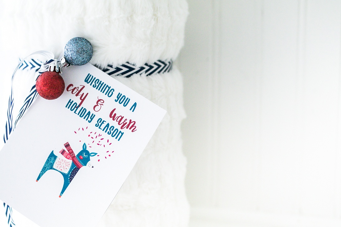 Blanket gift idea for friends or neighbors with free printable cozy and warm gift tag