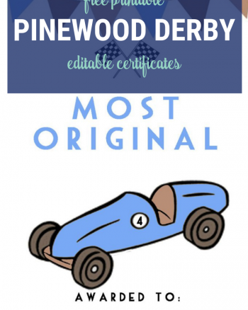Pinewood Derby Certificate Editable for all your award needs! ;)