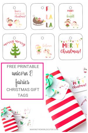 Sugarplum Fairies and Unicorn Christmas Free Printable Gift Tags
