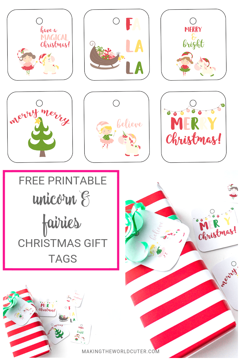 photograph about Free Printable Gift Tags Christmas called Sugarplum Fairies and Unicorn Xmas Totally free Printable Present Tags