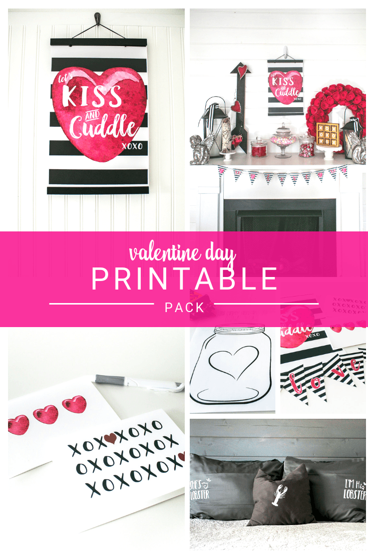 Valentine Printable Pack for Decor, Shirts, Greeting Cards, Coloring Sheets and more!