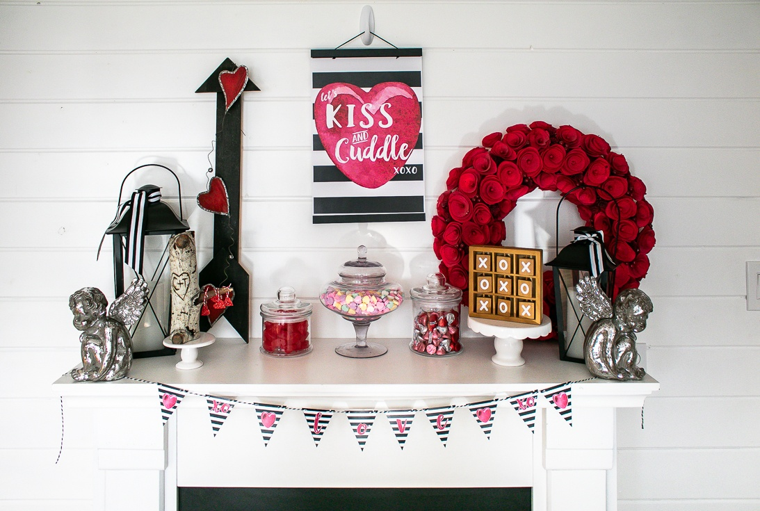 Valentine mantel decor with printable sign and banner