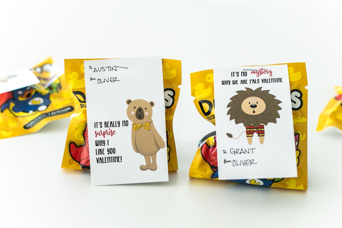 Blind bags and surprise bags are all the rage! Add a cute printable Valentine card to your mystery toy!