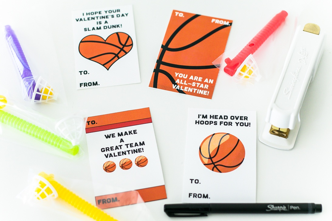 Basketball Valentine Card Free Printable Set