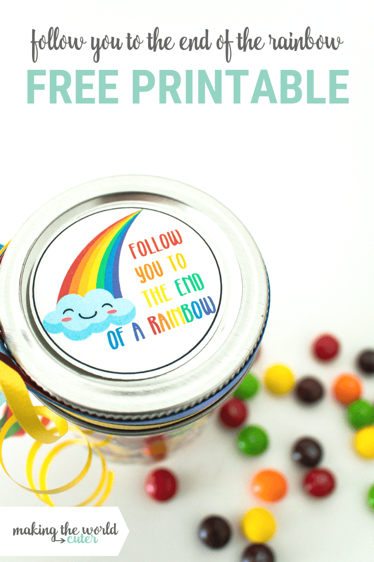 Rainbow Gift Tag Jar Topper