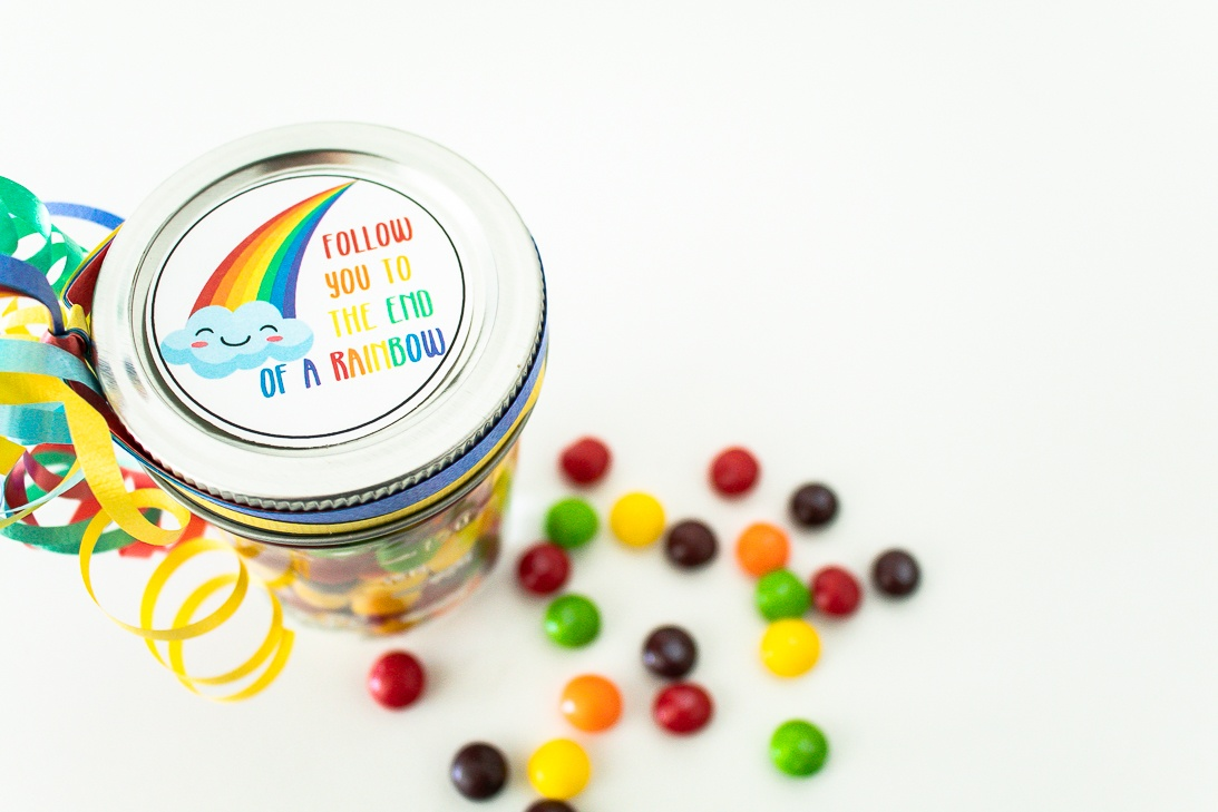 Rainbow Gift Tag Skittle Jar Gift