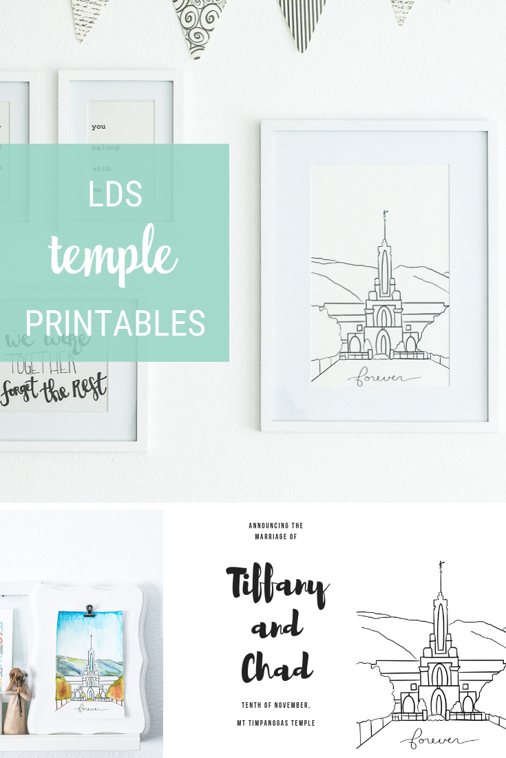 LDS Temple Art Printable in lots of sizes and temples! Hang in a frame for a gallery wall, print on watercolor paper to paint, print as coloring sheet, even a size to make a wedding announcement or invitation on!