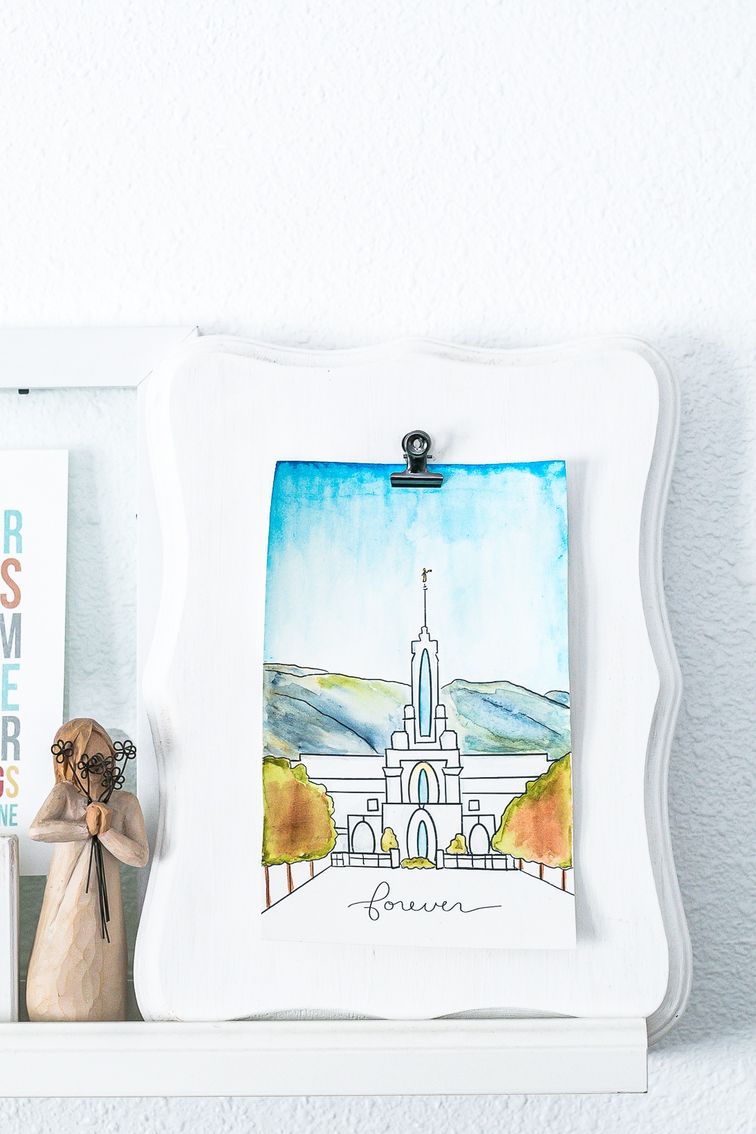 LDS Temple Art Watercolor Print of the Mt Timpanogas Temple