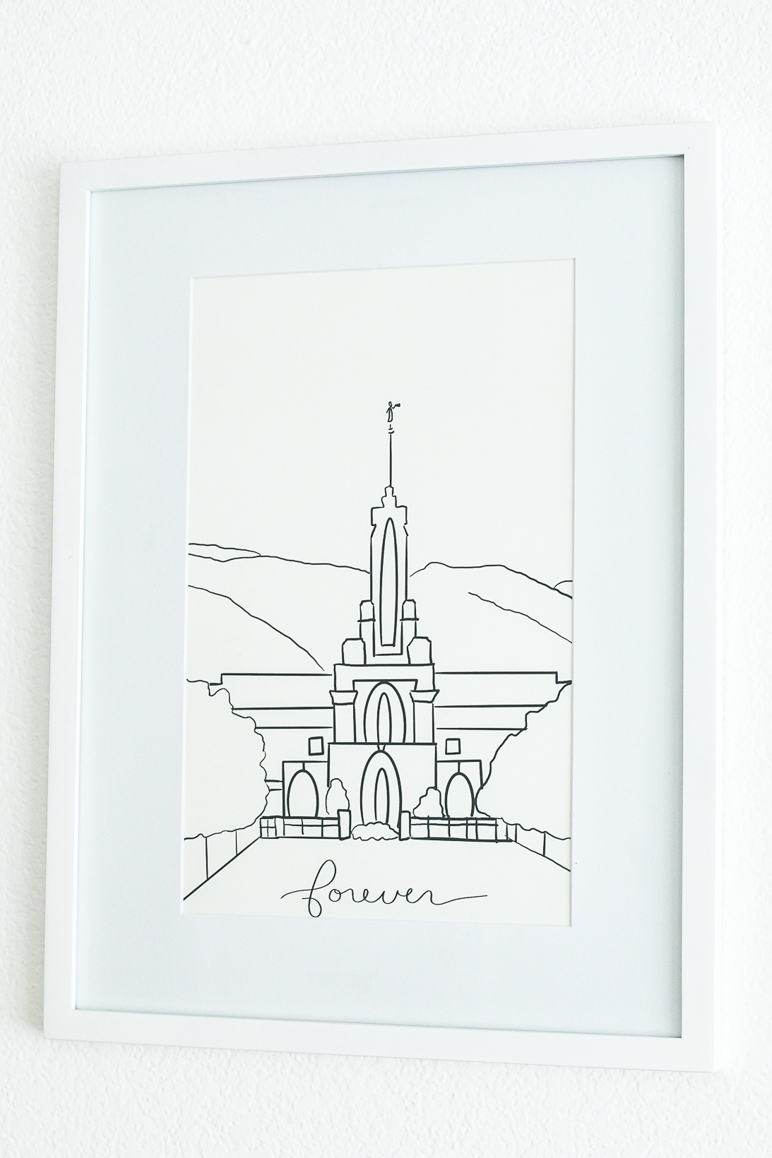 Framed drawing of the Mt Timpanogas Temple
