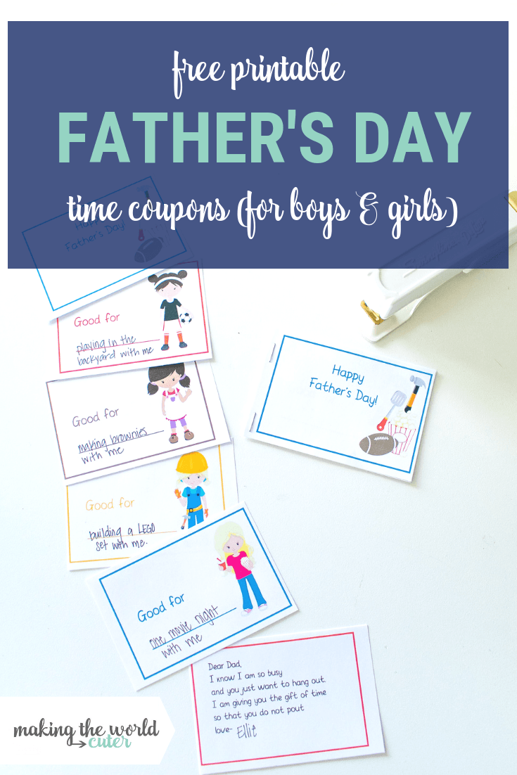 Father's Day Coupon Book for time with kids, one for boys and girls. Free printable.