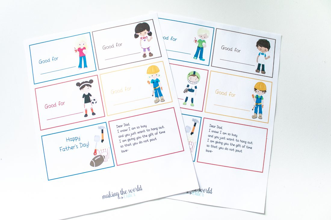 Free printable coupon books with funny poem for Father's Day